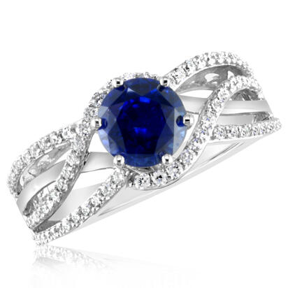 18K White Gold Ceylon Sapphire/Diamond Wedding Ring | RSCRD525180QI
