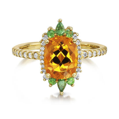 14K Yellow Gold Mandarin Garnet/Tsavorite/Diamond Ring