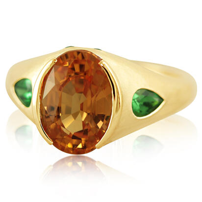 14K Yellow Gold Mandarin Garnet/Tsavorite Ring