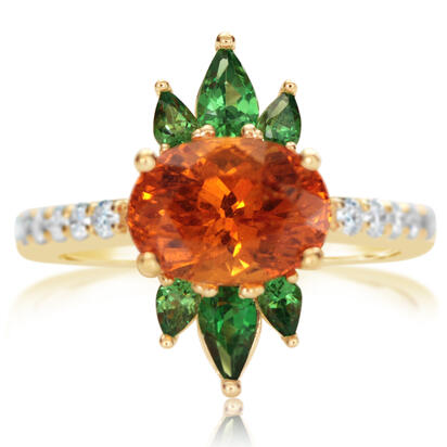 14K Yellow Gold Mandarin Garnet/Tsavorite/Diamond Ring | RSEOV850339C