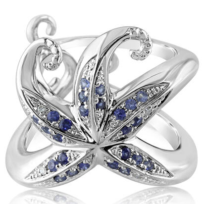 Sterling Silver Graduated Blue Sapphire/Diamond Starfish Ring | RSL038GS2SI