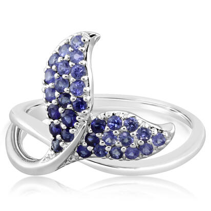 14K White Gold Graduated Blue Sapphire Whale Tail Ring | RSL042GSXWI