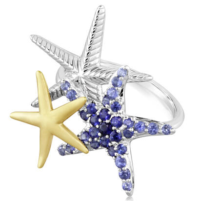 Sterling Silver /14K Yellow Gold Graduated Blue Sapphire Starfish Ring | RSL045GSXNI