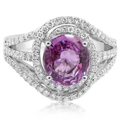 14K White Gold Pink Sapphire/Diamond Ring | RSPOV525338WI