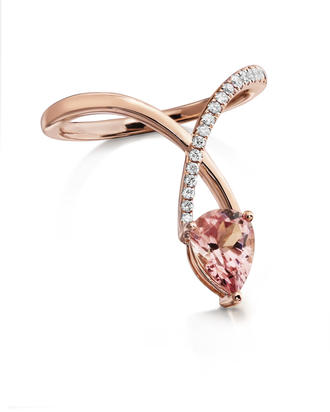14K Rose Gold Lotus Garnet/Diamond Ring | RCF001LG2RI