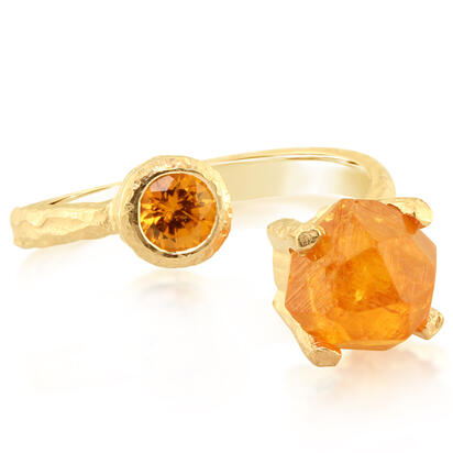 14K Yellow Gold Mandarin Garnet Ring | RSR006SPEC
