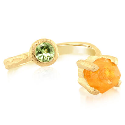 14K Yellow Gold Mandarin/Mint Garnet Ring