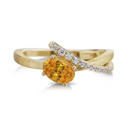 14K Yellow Gold Mint Garnet/Diamond Ring