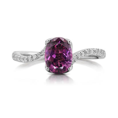 14K White Gold Purple Garnet/Diamond Ring