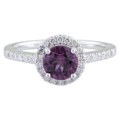 14K White Gold 6mm Round Purple Garnet/Diamond Ring | RBC065GP1WI