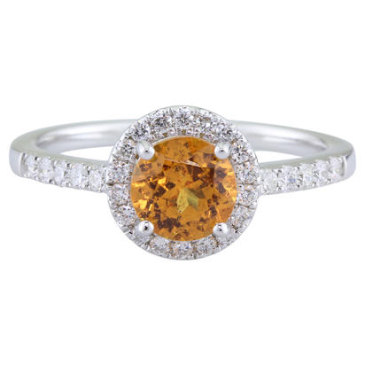 14K White Gold 6mm Round Mandarin Garnet/Diamond Ring | RBC065SPE1WI