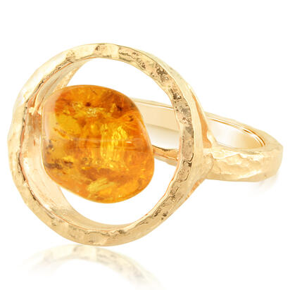 14K Yellow Gold Mandarin Garnet Hammer Finish Ring