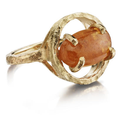 14K Yellow Gold Mandarin Garnet Hammer Finish Ring | RSR012SPEXXXXC