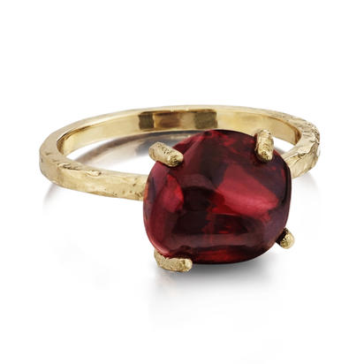14K Yellow Gold Rhodolite Garnet Hammer Finish Ring | RSR015L2XXXXC
