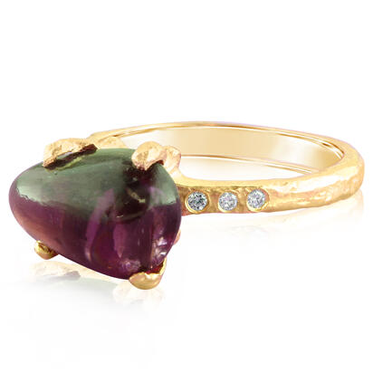 14K Yellow Gold Purple Garnet/Diamond Hammer Finish Ring | RSR016GP2XXXC