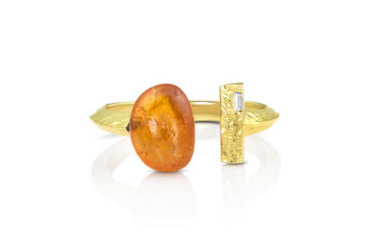 14K Yellow Gold Mandarin Garnet/Diamond Ring