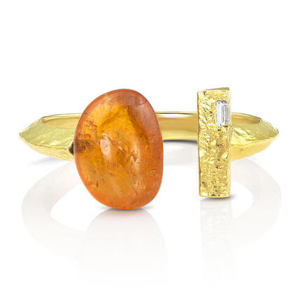 14K Yellow Gold Mandarin Garnet/Diamond Ring | RSR018SPE1XXXC