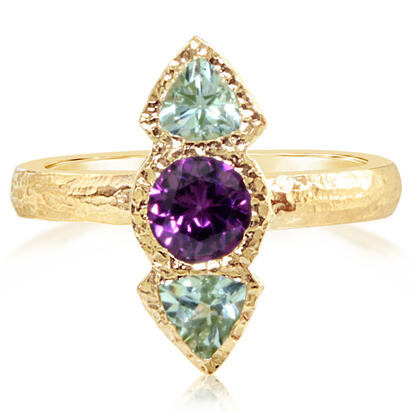 14K Yellow Gold Purple Garnet/Mint Garnet Ring | RSR020GPMGXC