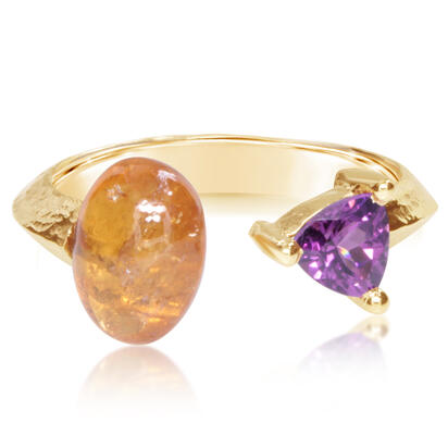 14K Yellow Gold Mandarin Garnet/Purple Garnet Ring | RSR021SPEGPXC