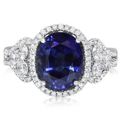 18K White Gold Thai Sapphire/Diamond Ring