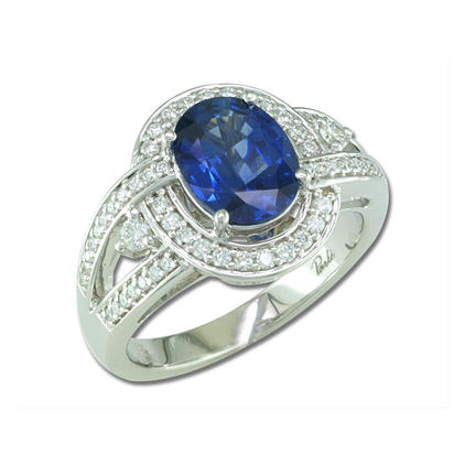 18K White Gold Thai Sapphire/Diamond Ring | RSTOV575196QI