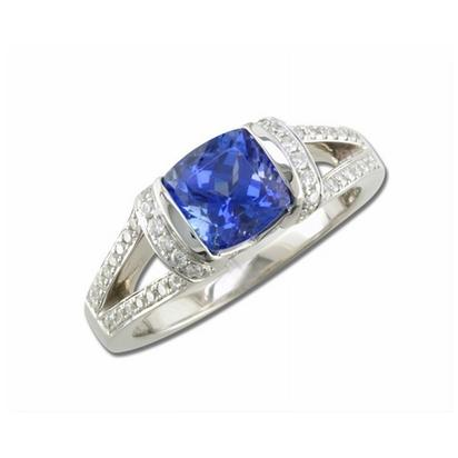 18K White Gold Tanzanite/Diamond Ring | RTZCU775160QI