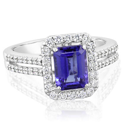18K White Gold Tanzanite/Diamond Ring | RTZOC775199QI
