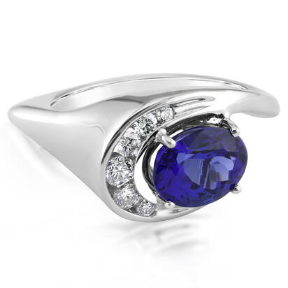 18K White Gold Tanzanite/Diamond Ring | RTZOV715245QI