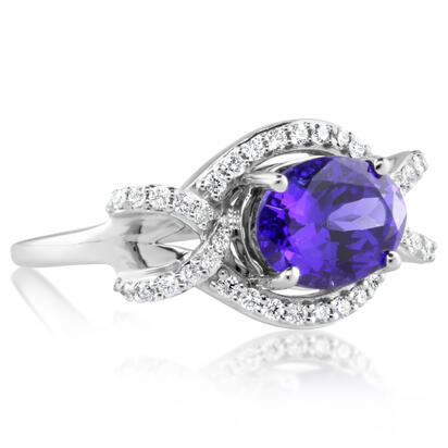 18K White Gold Tanzanite/Diamond Ring | RTZOV715255QI