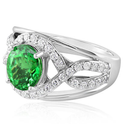 18K White Gold Tsavorite/Diamond Ring | RV0OV100268QI