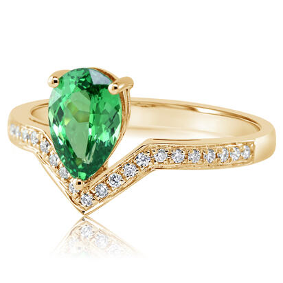 14K Yellow Gold Tsavorite/Diamond Ring | RV0PR550135CI