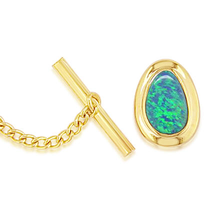 14K Yellow Gold Australian Opal Doublet Wide Bezel Tie Tac with Yellow Gold Plated Back