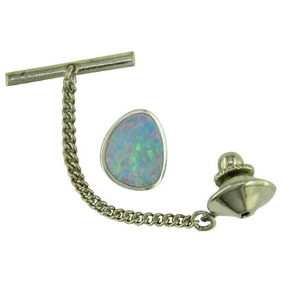 14K White Gold Australian Opal Doublet Tie Tac with Nickel Plated Back | TDBTW03I